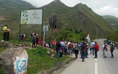 Marcha indígena continúa por Chimborazo con escasa concurrencia