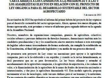 Carta abierta a los candidatos a la presidencia y a las y los asambleístas electos en contra de la Ley Agropecuaria