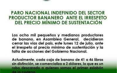 FENABE – Paro Nacional indefinido sector bananero
