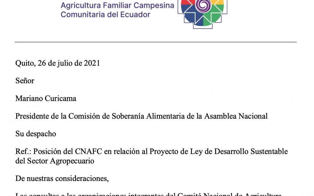 Carta abierta al Presidente de la Comisión de Soberanía Alimentaria de la Asamblea Nacional